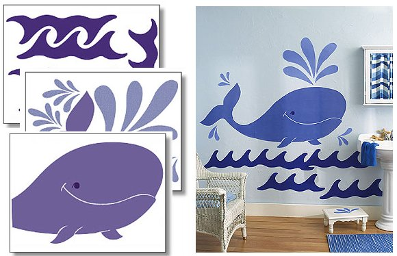 Wallies Whimsical Whale Big Wall Mural - Kids Wall Decor Store
