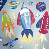 Rocket Space Giant Wall Decals