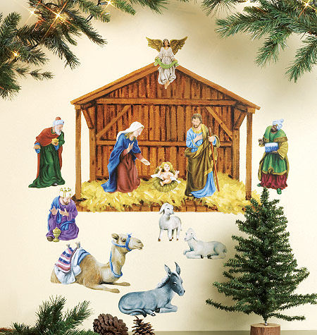 Wallies Holiday Nativity Holiday Sticker - Wall Sticker Outlet