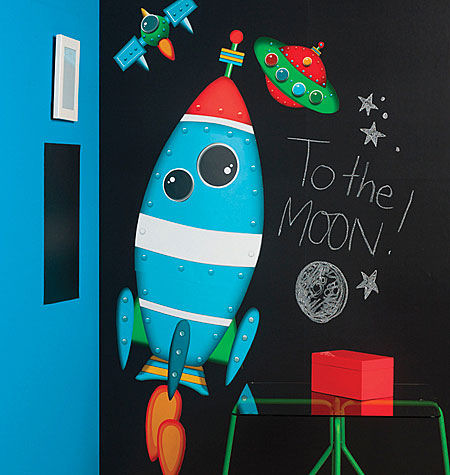 Rocket Ship Giant Peel And Stick Wall Decals