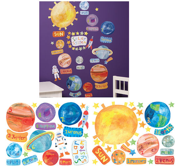 Wallies Solar System Peel and Stick Mural - Wall Sticker Outlet