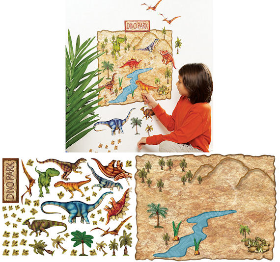 Wallies Dino Park Peel and Stick Mural - Wall Sticker Outlet