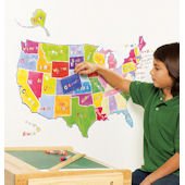 Wallies State Map Peel and Stick Mural