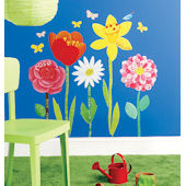Wallies Flower Garden Peel and Stick Stickers