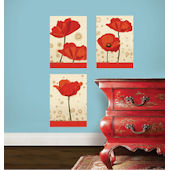 Wallies Bright Poppies Peel and Stick Stickers