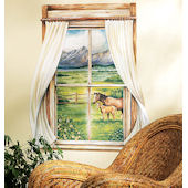 Wallies Grazing Pasture Window Mural