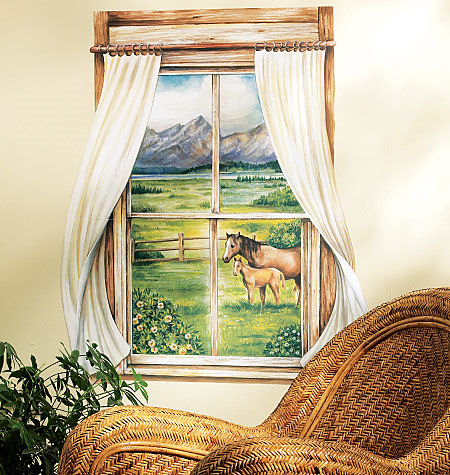 Wallies Grazing Pasture Window Mural - Wall Sticker Outlet