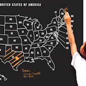 Wallies USA Map Chalkboard Wall Decal