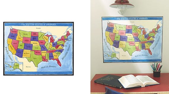 Wallies map of the united states mural for Environmental graphics giant world map wall mural