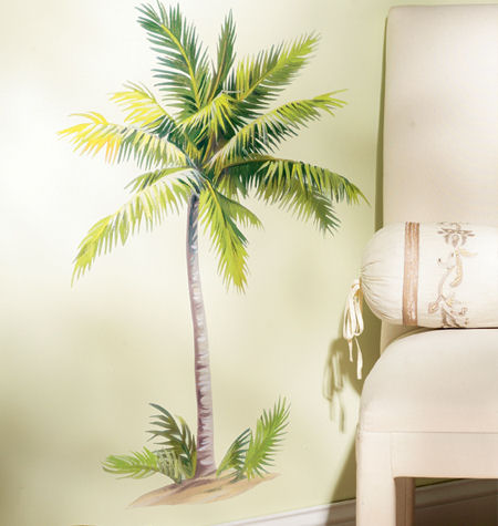 Breezy palm tree wall decals for Palm tree decorations for the home