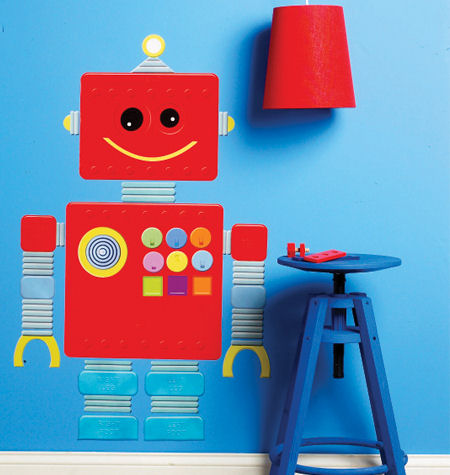 Wallies Robot Peel and Stick Wall Decal - Wall Sticker Outlet