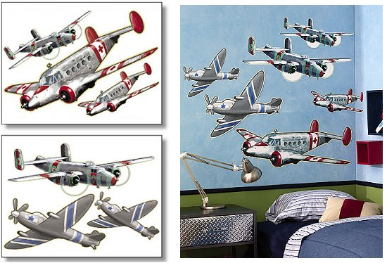 Wallies Airplanes Big Wall Mural - Kids Wall Decor Store