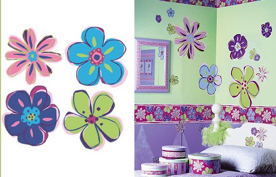 Wallies Doodle Flowers Cutouts - Kids Wall Decor Store