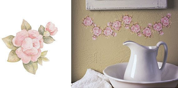 wallies pfaltzgraff tea rose cutouts wall sticker outlet
