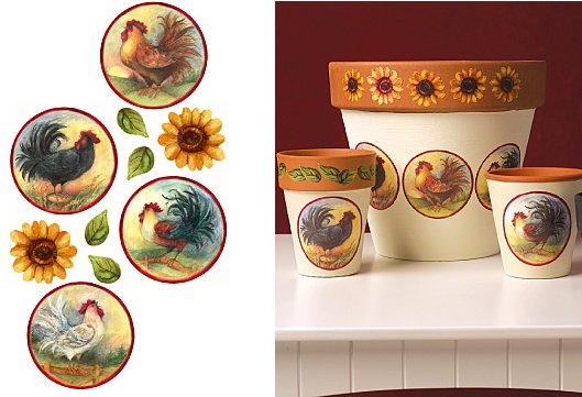 Wallies Roosters and Sunflowers Vinyl Decals - Wall Sticker Outlet