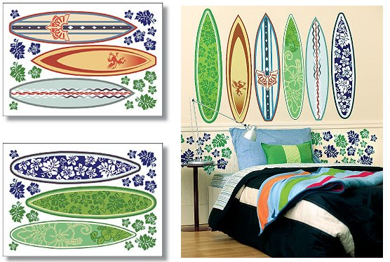 Wallies Surf Board Big Wall Mural - Wall Sticker Outlet