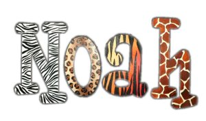 Wild Animal Print Wooden Wall Letters - Kids Wall Decor Store