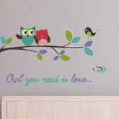 Owl You Need is Love Branch Wall Decals