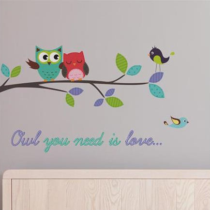 Owl You Need is Love Branch Wall Decals - Wall Sticker Outlet