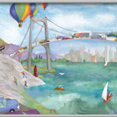Watercolor Journey Bridge Minute Mural
