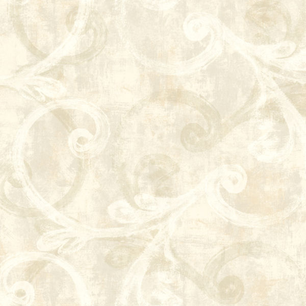 Cream And Grey Brushed Scroll Wallpaper