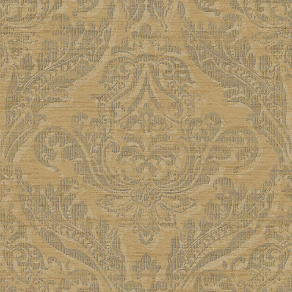 Gold And Grey Washed Damask Wallpaper