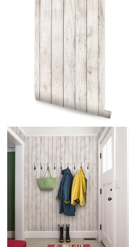 Wood White Peel And Stick Wallpaper