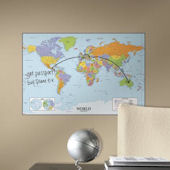 World Dry Erase Peel and Stick Map