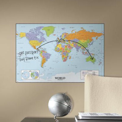 World Dry Erase Peel and Stick Map - Wall Sticker Outlet