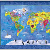 World Map Minute Mural