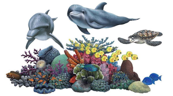 Coral Reef Tropical Wall Sticker Mural Two - Wall Sticker Outlet