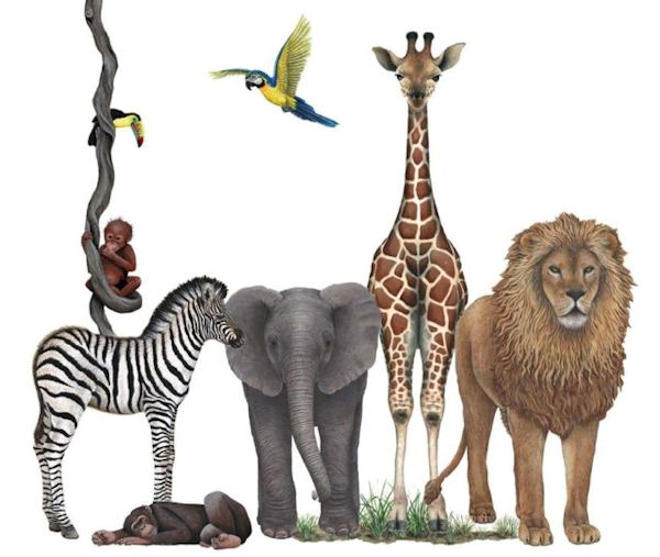 Jungle Animals Wall Sticker Mural One - Wall Sticker Outlet