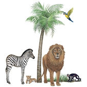 Jungle Animals Wall Sticker Mural Three
