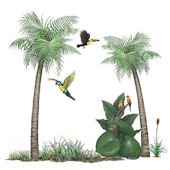 Palm Tree Wall Sticker Mural Set