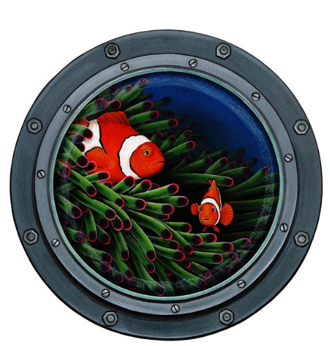 Submarine Window Peel and Stick Decal - Wall Sticker Outlet