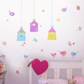 Bird Houses Peel and Stick Wall Decals