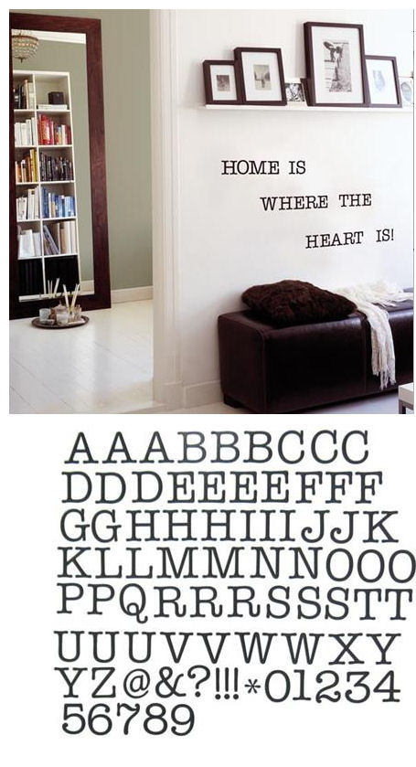 Black Letters Peel and Stick Decals - Wall Sticker Outlet
