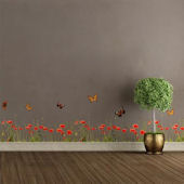 Wall Pops Poppies And Butteflies Wall Border