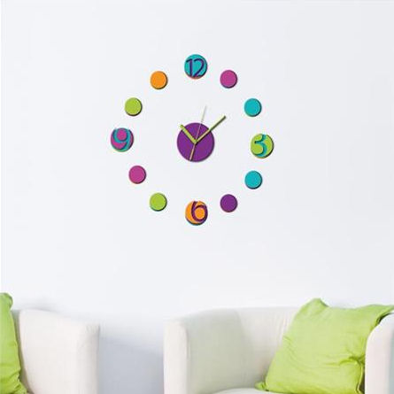 Wall Pops Colorful Peel And Stick Wall Clock Decal - Wall Sticker Outlet