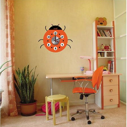 Wall Pops Ladubug Peel And Stick Wall Clock  - Wall Sticker Outlet