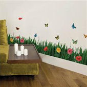 Grass With Butterflies And Flowers Wall Decals