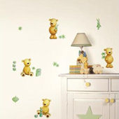 Teddy Bear Green Peel and Stick Wall Decals