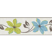 Lily Teal and Lime Peel and Stick Wall Border