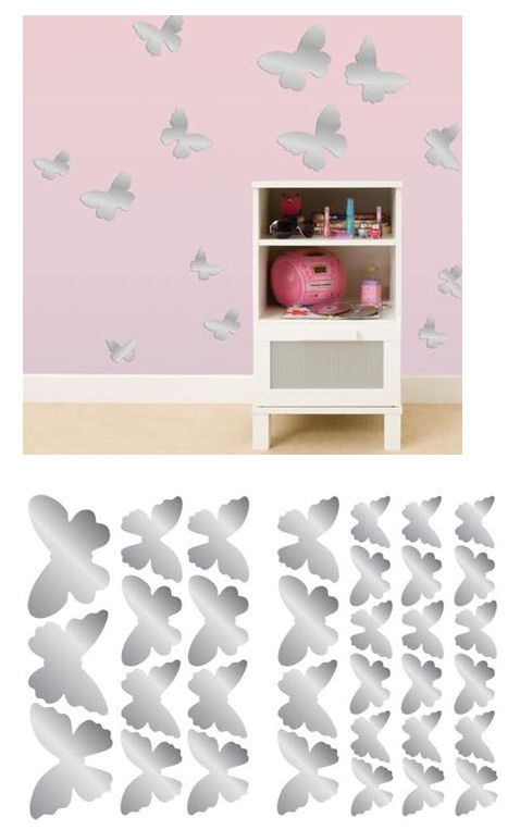Mirrored Butterflies Peel and Stick Decals - Wall Sticker Outlet
