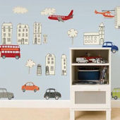 Picture Book City Cars Peel and Stick Decals