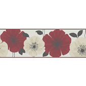 Poppy Red & Cream Peel and Stick Wall Border