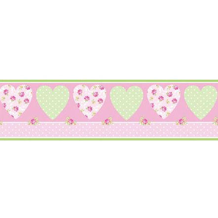pretty flowers hearts peel and stick wall border, Beautiful flower