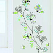 Art Applique Line Pattern Flowers Wall Decals