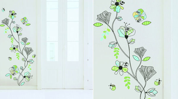 Art Applique Line Pattern Flowers Wall Decals - Wall Sticker Outlet