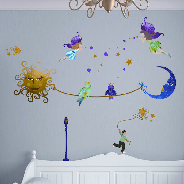 Art Applique Sun Meeting The Moon Wall Stickers - Wall Sticker Outlet